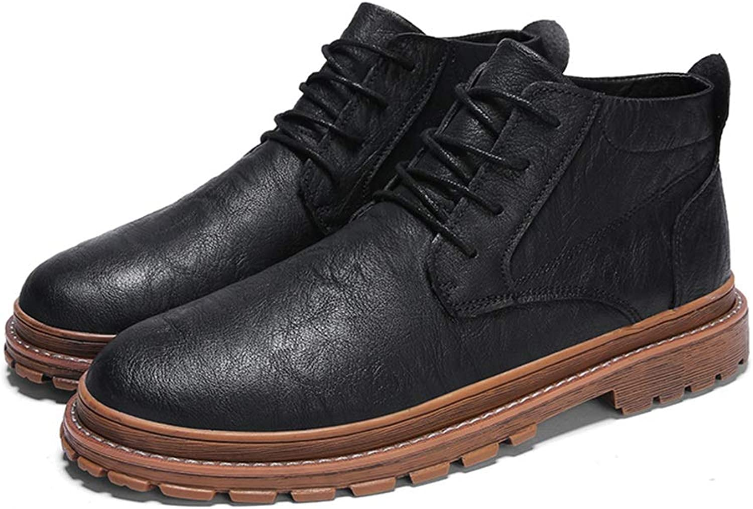 YAJIE-Boots, Men's Casual Classic Metal Buttonhole Comfortable Leather Boots Fashion Ankle Boots (color   Black, Size   8.5 UK)