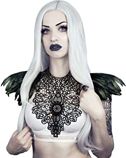 Gothic White Natural Real Feather Epaulet Shoulder Wings For Men Women