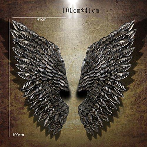 ZCCZS LOFT Wanddekoration Regal 3D Engels-Flügel-Kunst-Wand-dekorative Eisen-Retro- Stab-Wand LOFT Dekorationen Industrielle Dekoration Wand (größe : 100 * 41CM B, Stil : Angel Wings)