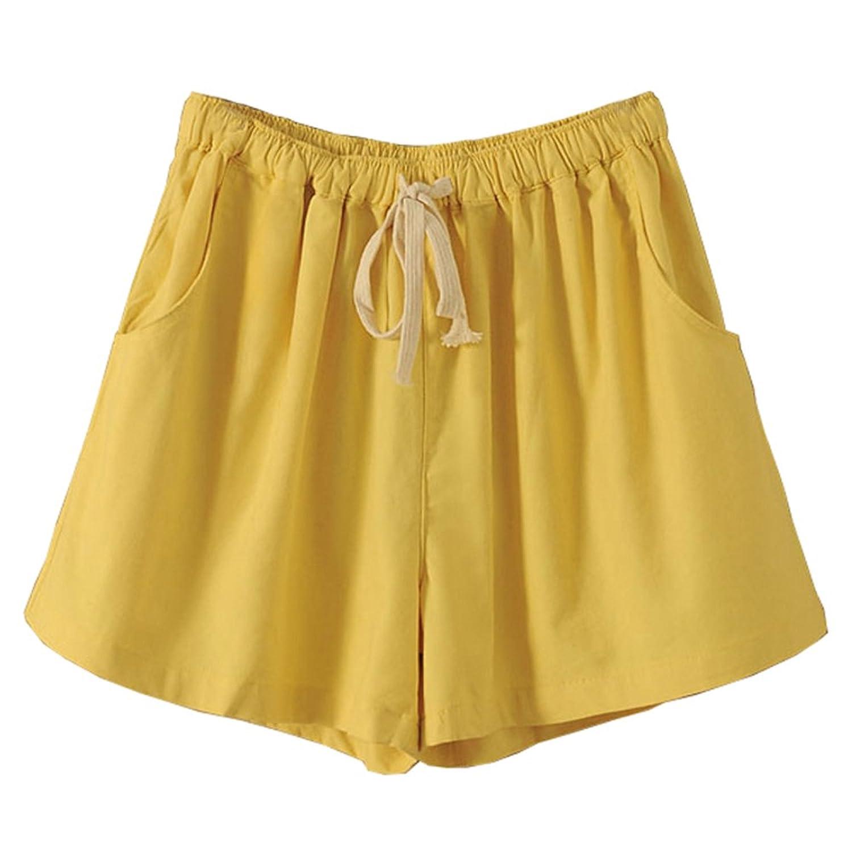 Pangyi レディーズ ショットパンツ 紐付き 夏 涼しい パンツ ゆったり綿麻 無地 シンプル 着痩せ ゴムウエスト ズボン 大人 学生 ハーフパンツ