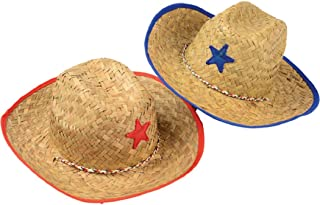 Children/Youth Straw Cowboy Hats with Plastic Star - 6 Pack