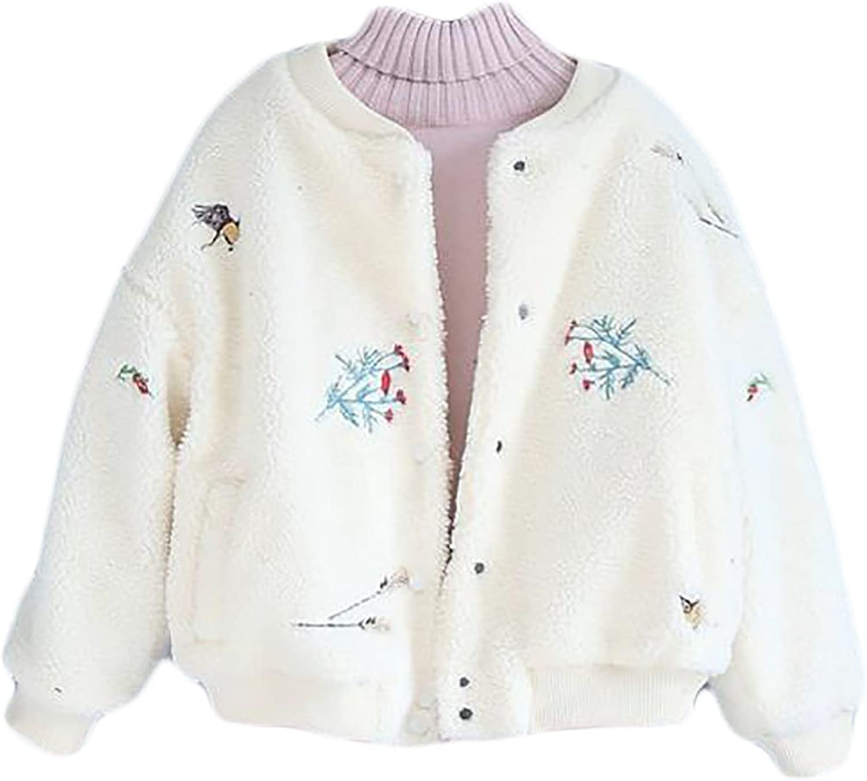 Pandapang Women's Classic Fleece Embroidery Button Short Parka Jackets