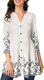 SRYSHKR Fashion Womens Casual Button V-Neck Printed Three Quarter Sleeve Blouse Tops