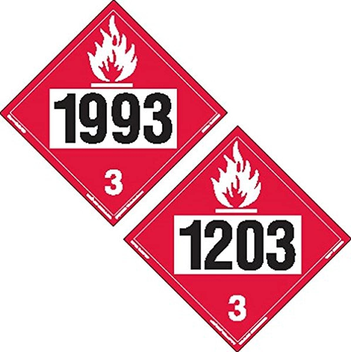 safety Labelmaster ZTV20393 Two-Sided 4-Digit Placard Hazmat 1993 Flam mart