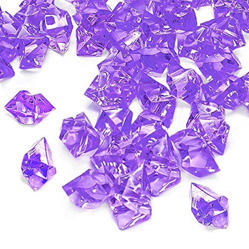 Purple Fake Crushed Ice Rocks, 150 PCS Fake Diamonds Plastic Ice Cubes Acrylic Clear Ice Rock Diamond Crystals Fake Ice Cubes Gems for Home Decoration Wedding Display Vase Fillers by DomeStar