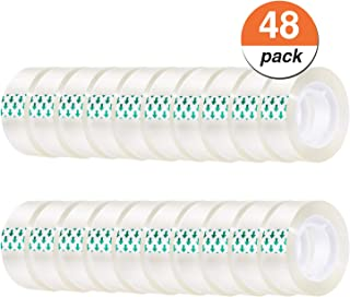 Favourde Transparent Tape Clear Tape 3/4 inches Tape Refill Roll for Office, Home, School (48 Rolls) (48)