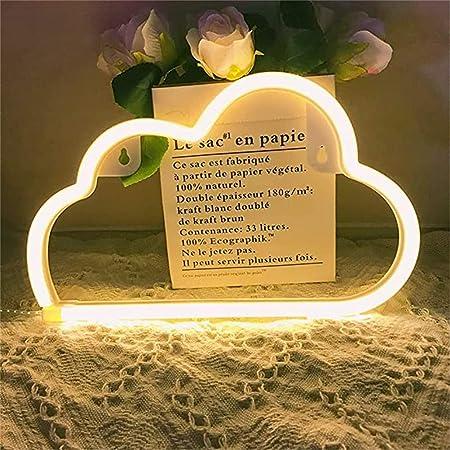 Nordstylee - Luce notturna al neon a forma di nuvola, luci notturne a LED per bambini, decorazione da parete, compleanno, Natale, matrimonio