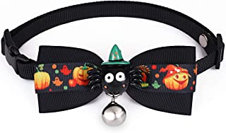 Freewindo Dog Bow Ties with Bell, Adjustable Bow Tie Dog Collar Halloween Cat Bow Tie Collar for Small Medium Dogs and Cats