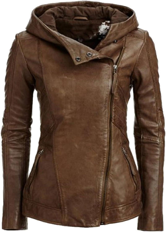 LINGMIN Women's Hooded Faux Leather Jacket Casual Oblique Zipper Moto Coat Outerwear