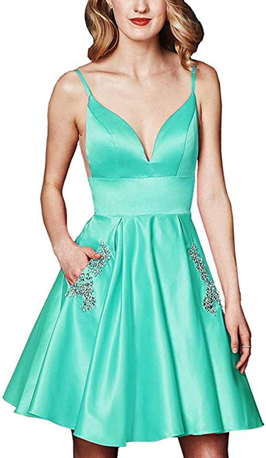 Alilith.Z Sexy Beaded Crystal Homecoming Dresses Short Satin Prom Party Gowns for Women with Pockets 2019