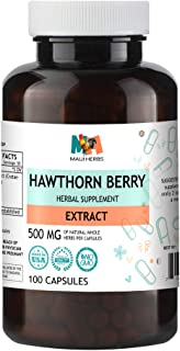 Hawthorn Berry 100 Capsules, 500 mg, Hawthorn Berry Extract (Crataegus Pinnatifida Bunge) (100 Capsules)