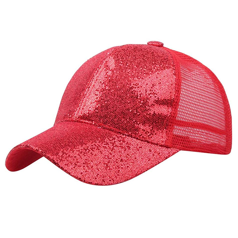 LiPing Ponytail Baseball Cap Sequins Shiny Hat Cap for Womens - Workout Sweat band, Soft, Comfortable, Perfect for Working/Accessories for Fashion Or Sport (Red)