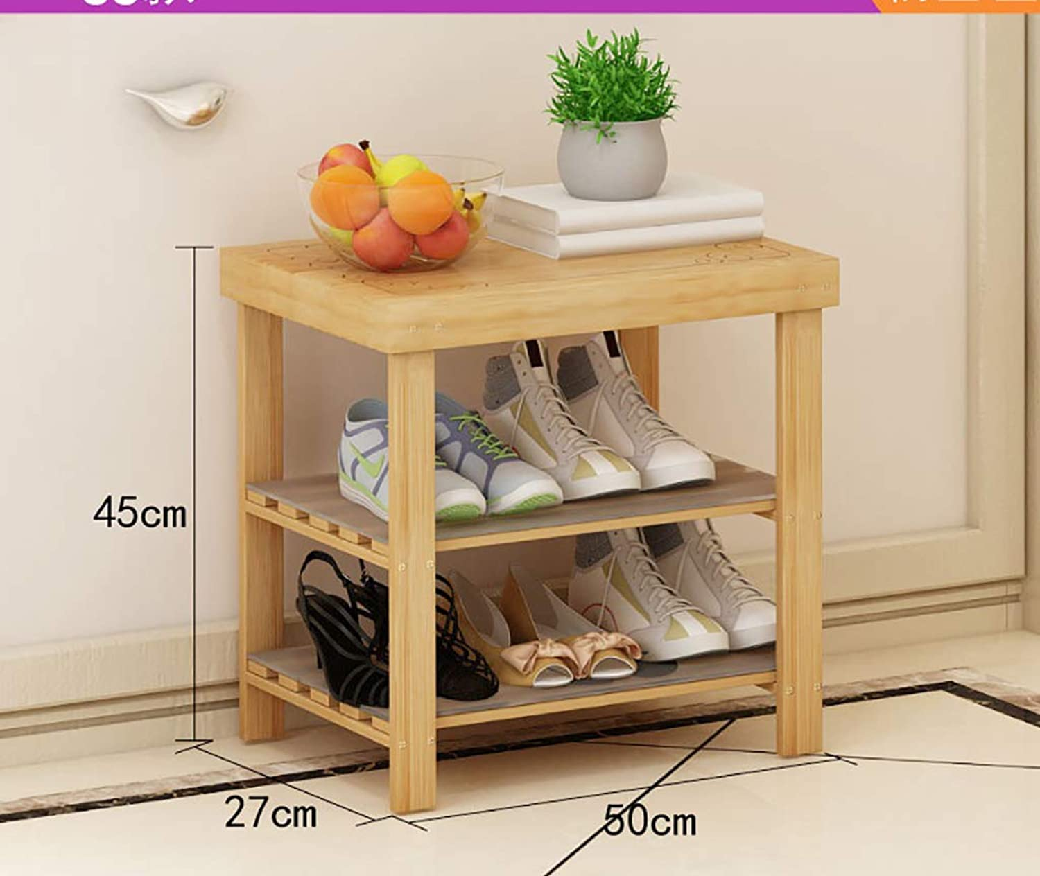 shoes Bench Organizing Rack shoes Rack Solid Wood Multi-Layer Bamboo Door Storage shoes Shelf (Size   50  27  45cm)