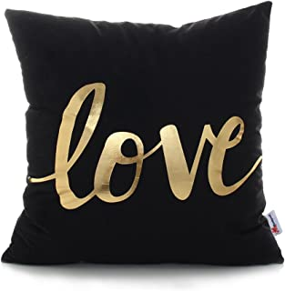 Monkeysell Bronzing Gold Pillow Flannelette Home Pillowcases Throw Pillow Cover Cushion Waist Lumbar Pillow Lips Love Puzzles Pineapple Pattern Design (Square 18 Inches, S155C)