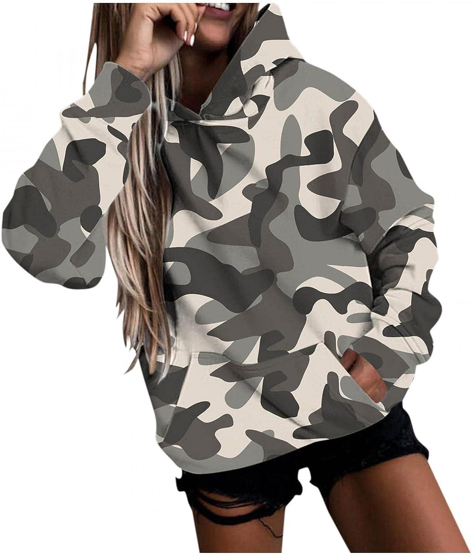 Qisemi Hooded Sweatshirt for Women Very popular Print Hoo Sweater Casual Camo Under blast sales