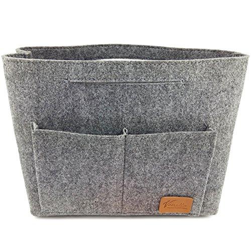 Taschenorganizer Filztasche Kulturtasche Kulturbeutel Schminktasche Make-Up Tasche Handtasche Organizer – Bag in Bag für Zubehör (Grau)