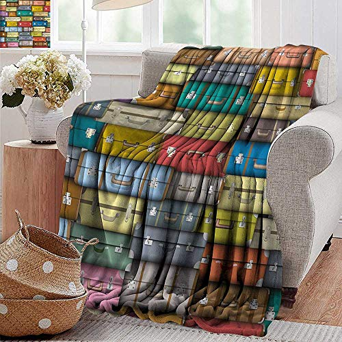PearlRolan Weighted Blanket,Modern,Colorful Suitcases Background Vintage Travel Voyage Holiday Themed Artful Design,Multicolor,300GSM, Super Soft and Warm, Durable 30'x40'