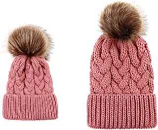 05b2e7edf4f MIOIM 2PCS Parent-Child Hat Warmer Family Winter Warm Matching Hat with Pom  Pom Crochet