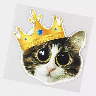 UYEDSR Paquete de 2 pegatinas para coche, diseño de gato con corona de ojo grande, adhesivo de coche, 15,6 x 15,1 cm