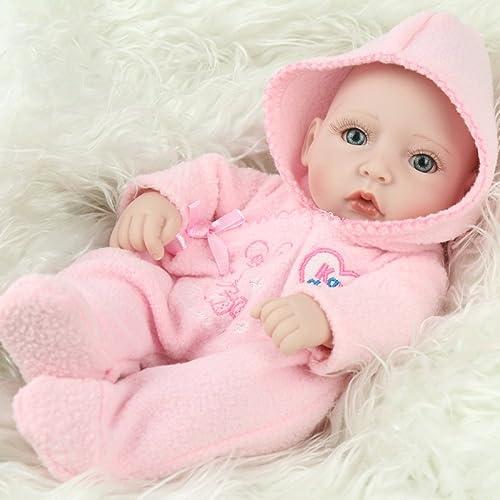 CHENGXX Baby-Simulationspuppe Der Wiedergeburt mädchengeschenk Weiße Plastikbadepuppe Nettes Spielzeug des Babyspielhauses Ver erbare Kleidung Handgemachte Handgemachte Puppe des Silikonvinyl