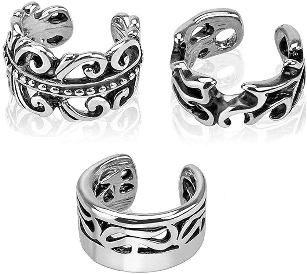 3pcs Vintage Stainless Steel Clip On Non Piercing Ear Cuff