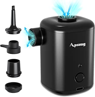 Apsung Electric Air Pump for Inflatables, Portable Cordless Quick-Fill Rechargeable Air Pump, Inflator Deflator with 4 Noz...