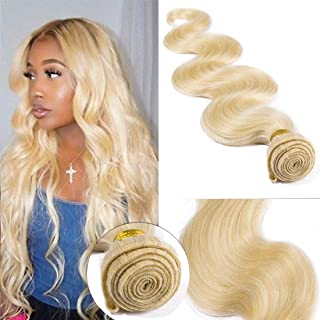 SEGO 613 Virgin Hair Bundles 7A Sew in Blonde Bundle 100% Unprocessed Brazilian Human Hair Weft Weave Extensions Thick Body Wave Wavy One Bundle for Women 20 Inch Bleach Blonde