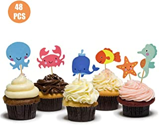HOKPA Ocean Theme Cupcake Toppers Food Picks Dolphin Seahorse Starfish Fish for for Ocean Nautical Theme Party Baby Shower...
