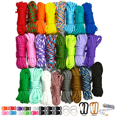 WEREWOLVES 550 Paracord Type III  Survival Paracord Bracelet Rope Kits  Tent Rope Parachute Cord Combo Crafting Kits Many Colors of Outdoor Survival Rope  Great Gift 24 Color
