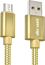 eller santé® Swadesi Rugged Extra Tough Unbreakable Braided Micro USB Cable 1 Meter Compatible with Smartphone - Gold