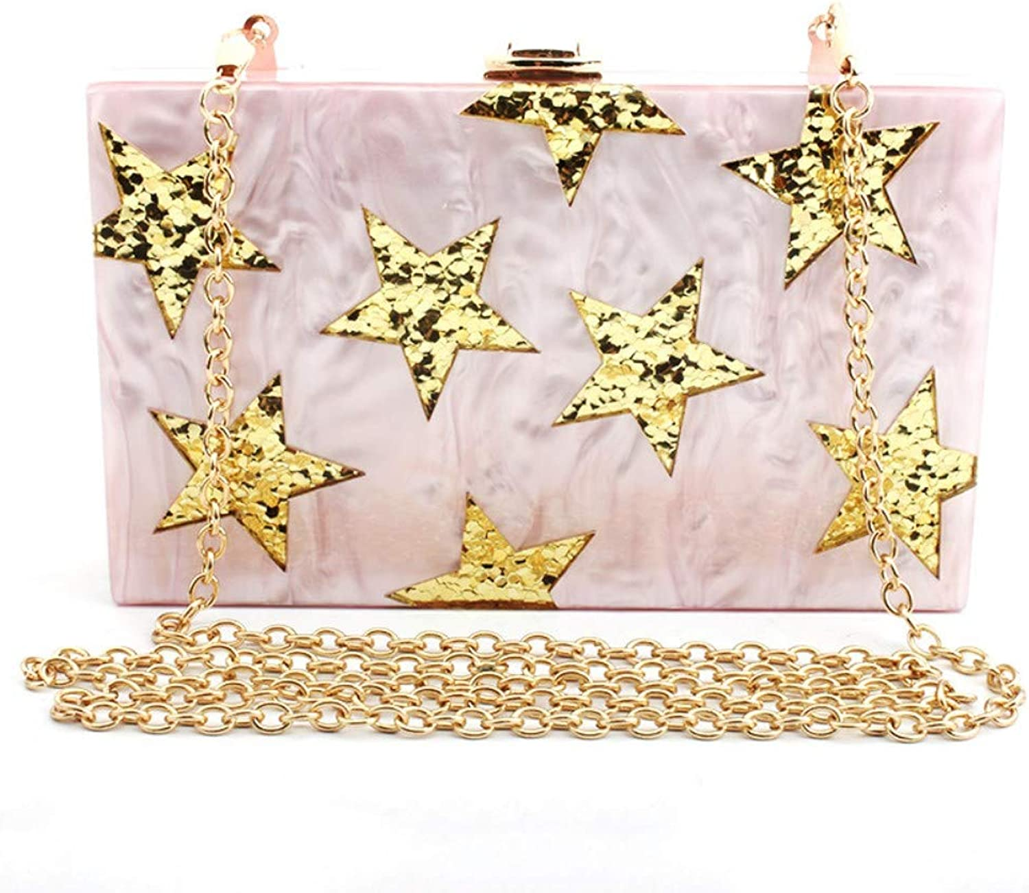 Wershiny Clutch Purses for Women Evening Bags Shoulder Party Cross Body Handbags Pentagram Star Acrylic Sequins Women's Hand Dress