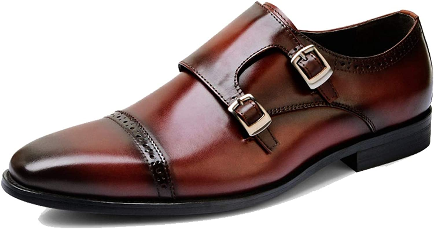 FOXSENSE Premium Genuine Leather Buckle Cap-Toe Brogue Oxford Handmade with Double Leather Buckle for Man