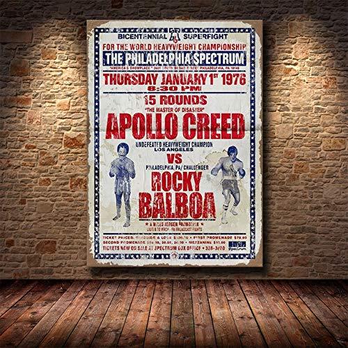 panggedeshoop Schwarz-Weiß Rocky Balboa Boxhandschuhe Bodybuilding Malerei Poster Drucke Wandkunst Motivationsbild 50X70Cm -Jz4926