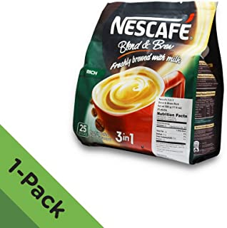 Nescafé 3 in 1 RICH Instant Coffee (25 Sticks) ★ Made from Premium Quality Beans ★ Offers a Relaxing Flavor But with Strong, Solid Essence and Aroma ★ Has a Richer Taste than Nescafé 3 in 1 Original ★ Serve Hot or Cold ★ From Nestlé Malaysia