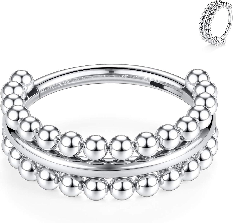 FUNLMO 16G Septum Jewelry Nose Septum Rings Septum Clicker Cartilage Helix Daith Conch Lobe Earrings Surgical Steel Cartilage Helix Daith Conch Piercing Jewelry