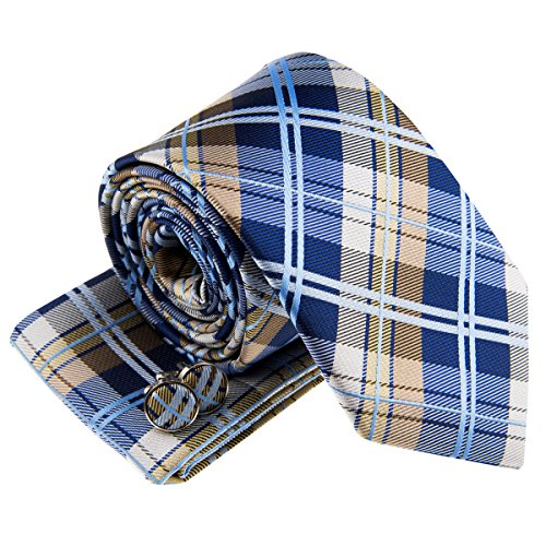 Retreez heren geweven stropdas elegante tartan plaid ruit 8 cm en pochet en manchetknopen in set