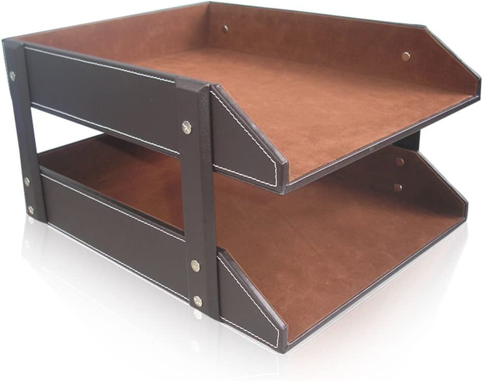 KINGFOM sold out Letter Tray Leather Paper Wooden F Desk Our shop OFFers the best service Organizer