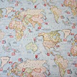 Stoff Meterware Briefmarke Weltkarte hellblau neu Landkarte
