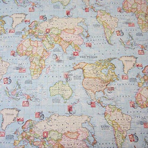 Stoff Meterware Briefmarke Weltkarte hellblau neu Landkarte Globus Erde Karte