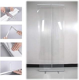 TOPNIU Plancher debout Roll up Clear Shield Ecrans Étape de plancher debout Éternel Portable Roll Up Banner Transparent Ét...