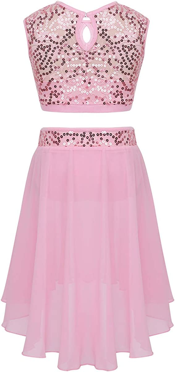 moily Kids Girls Floral Lace Sequin Crop Top with Skirts Lyrical//Ballet//Ice Skating Dress Stage Suit