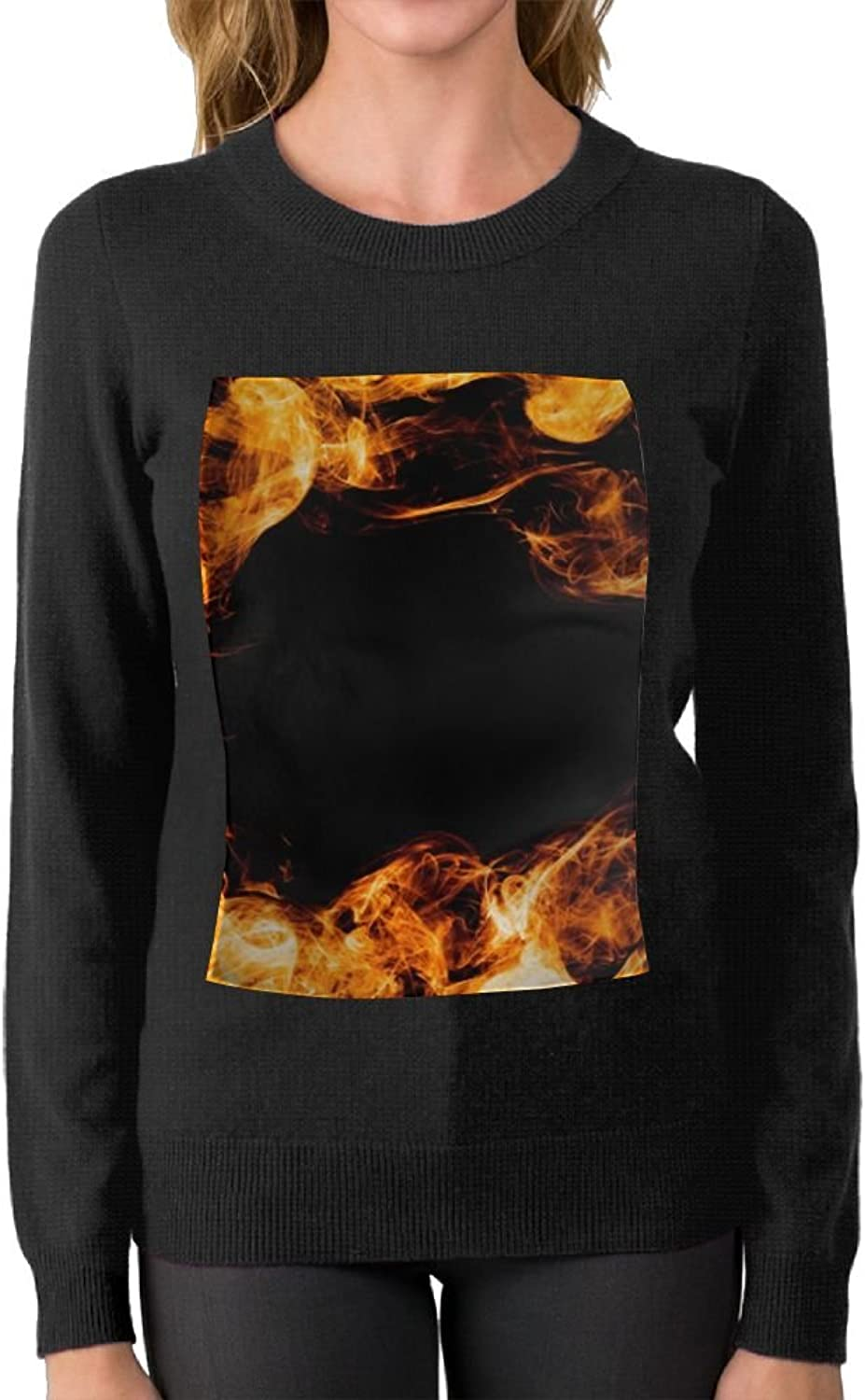 Woman Flame Circle Wallpaper Graphic Sweater Boyfriend First Quality\r\n Warm Crew Neck
