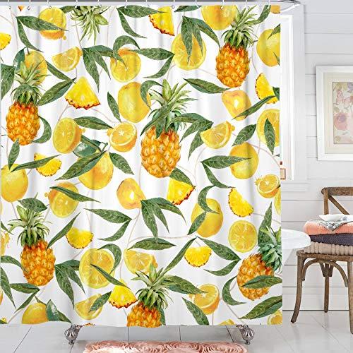 Kanuyee Duschvorhang, Obstduschvorhänge für Badezimmer, Äpfel, Pfirsiche, Erdbeeren, Orange, Duschvorhang-Set, wasserdicht, Standardgröße 72 x 72 (gelb)