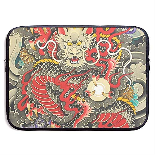 Waterdichte Computer Tas, Zakelijke Aktetas Mes, Laptop Sleeve Case Cover, Rood Traditionele Chinese Dragon Ball Art Compatibele Notebook Bag Case, Tablet Case Cover, Laptop Sleeve Bag