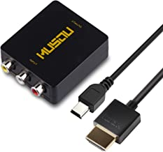 Musou RCA AV Composite to HDMI Video Audio Converter Adapter Mini Box with HDMI Cable Support 1080P for TV/PC/PS2/Blue-Ray DVD,Black More Tools