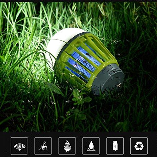 DAFUYE Trois éclairages de luminosité bébé Lumières Anti-Insectes, Chocs électriques de Lampes de Moustique extérieures d'USB, Suspension Pièges à moustiques domestiques