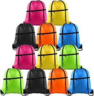 12Pcs Drawstring Bag Sports Gym String Backpack Bulk Cinch Bag Sackpack with Zipper for School Yoga Sport Gym Traveling