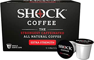 Shock Coffee Extra Strength K-Cup. The Strongest Caffeinated All Natural K-Cup, Up to 50% more Caffeine than Regular Coffee, 12 count