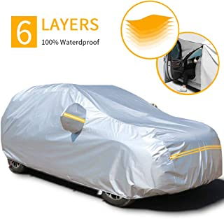 Car Covers Waterproof,SUV Car Covers for 6 Layers All Weather Outdoor Snow UV Protection with Zipper A6-YXL(Fits SUV 193