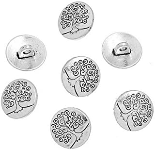 Mingchen Round Antique Silver Metal Carved Tree of Life Button Retro Texture Pattern Suitable for Shirt Uniform Leather Ja...